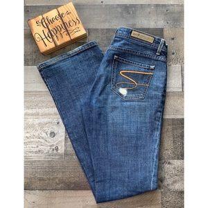 SEVEN7 Premium Denim Distressed Flare Leg Jeans 30